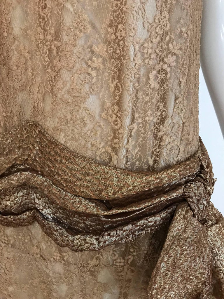 1920s Mocha Metallic Lace Flapper Dress For Sale 1