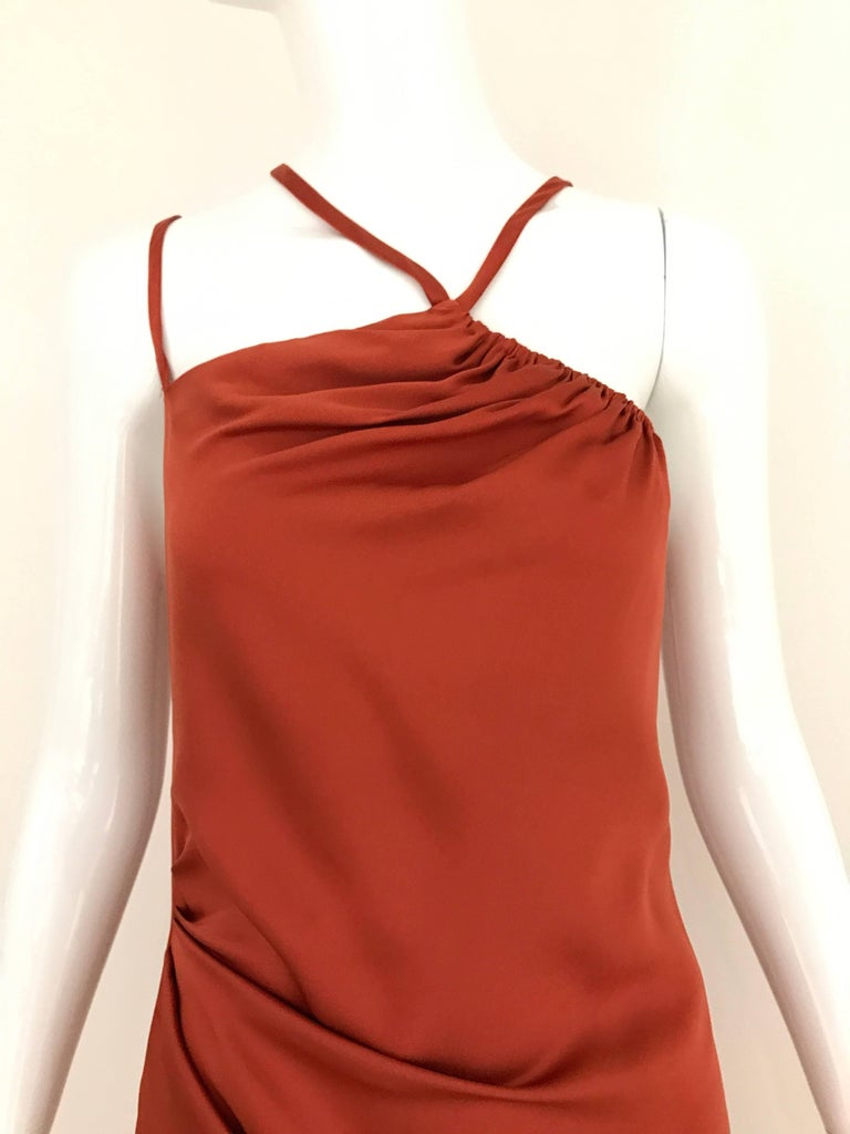 Vintage BILL BLASS Orange Burnt Silk Gown with asymmetrical shoulder strap. zip at the back and slightly ruching on the waist. What an elegance gown. Fit US Small - Medium Bust: 38 inch / Waist: 32 inch / Hip 42 inch / Length: 62 inch  **** This