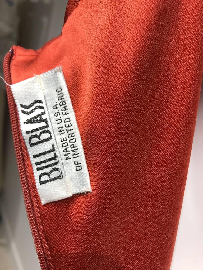 Women's 1990s BILL BLASS Burnt Orange Silk Charmeuse Asymetrical Neckline Dress For Sale