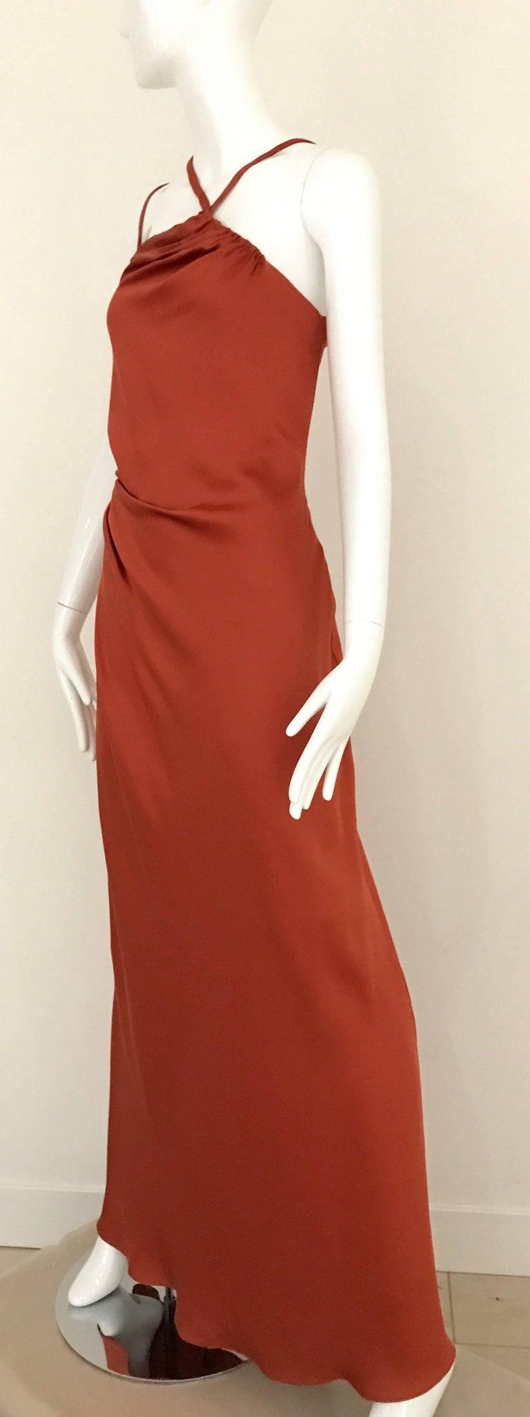 Red 1990s BILL BLASS Burnt Orange Silk Charmeuse Asymetrical Neckline Dress For Sale