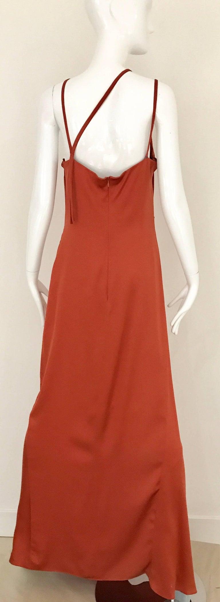1990s BILL BLASS Burnt Orange Silk Charmeuse Asymetrical Neckline Dress For Sale 1