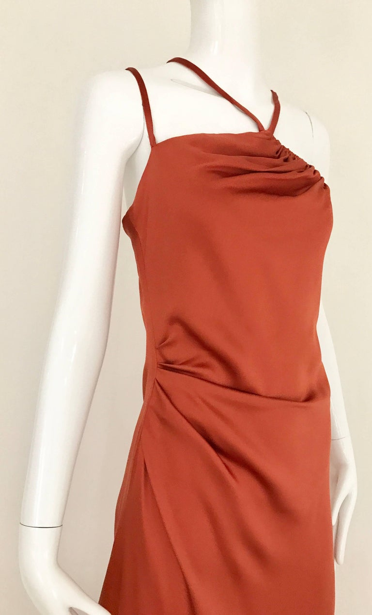 1990s BILL BLASS Burnt Orange Silk Charmeuse Asymetrical Neckline Dress In Good Condition For Sale In Beverly Hills, CA