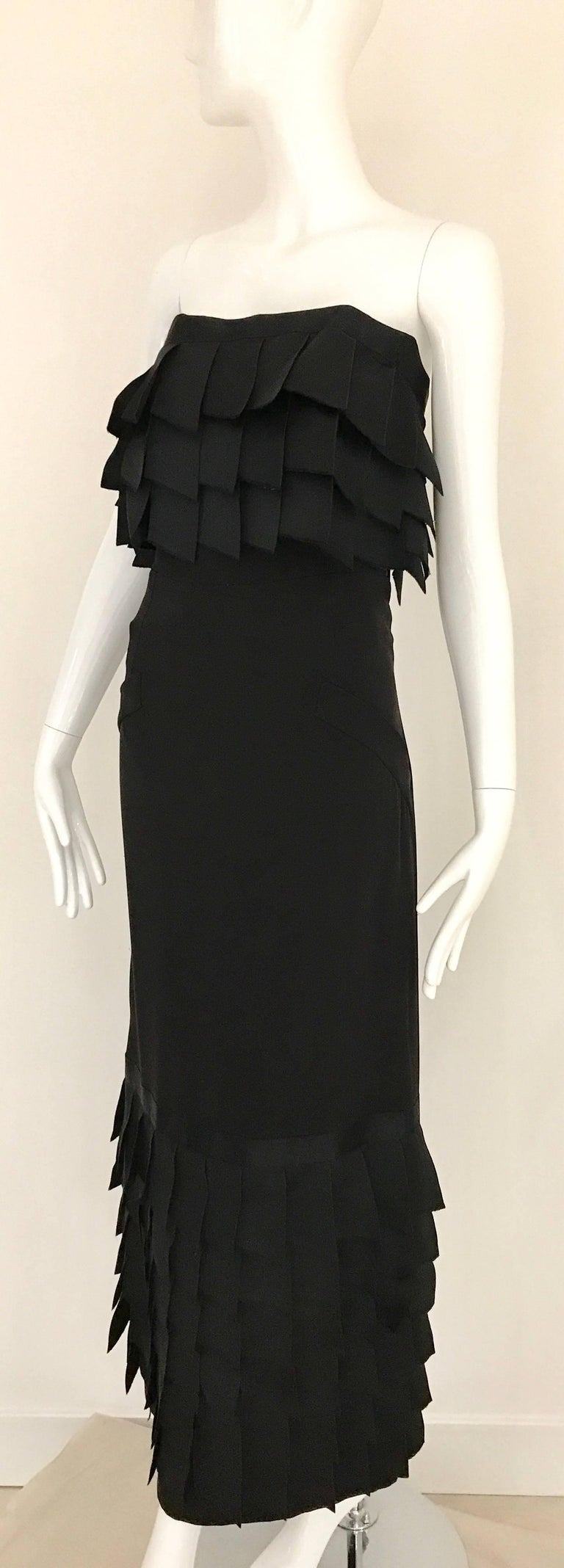 Vintage CHANEL Black Strapless Silk Gown With Cascading Ribbon In Excellent Condition For Sale In Beverly Hills, CA