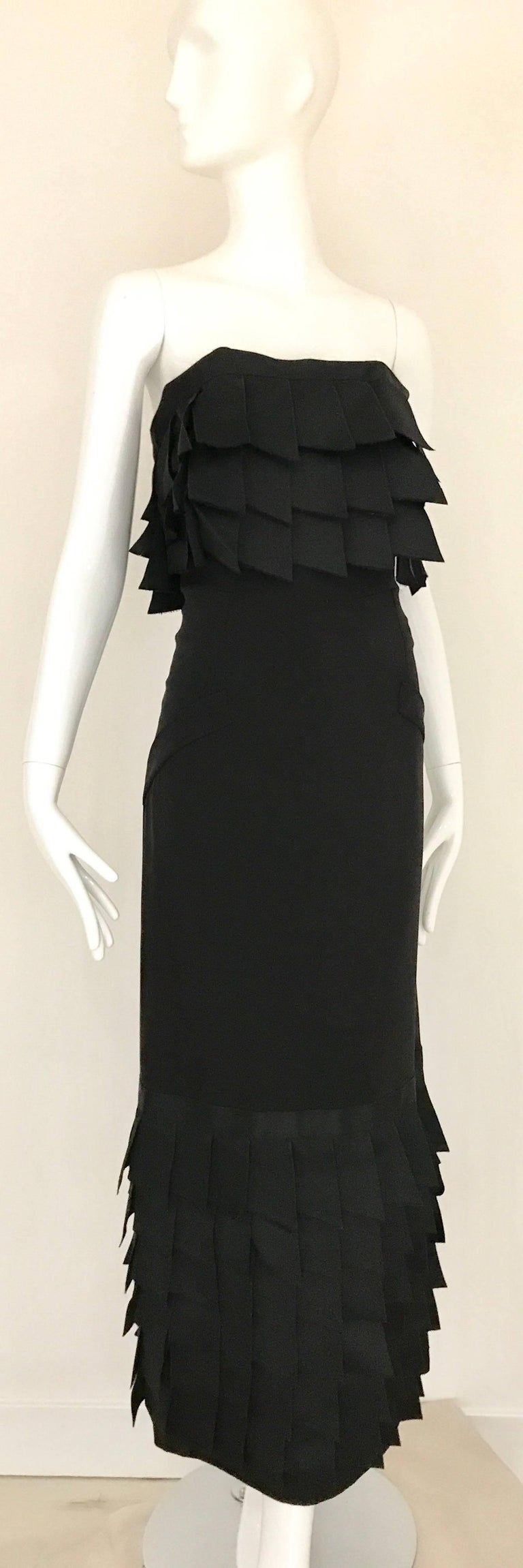 Women's Vintage CHANEL Black Strapless Silk Gown With Cascading Ribbon For Sale
