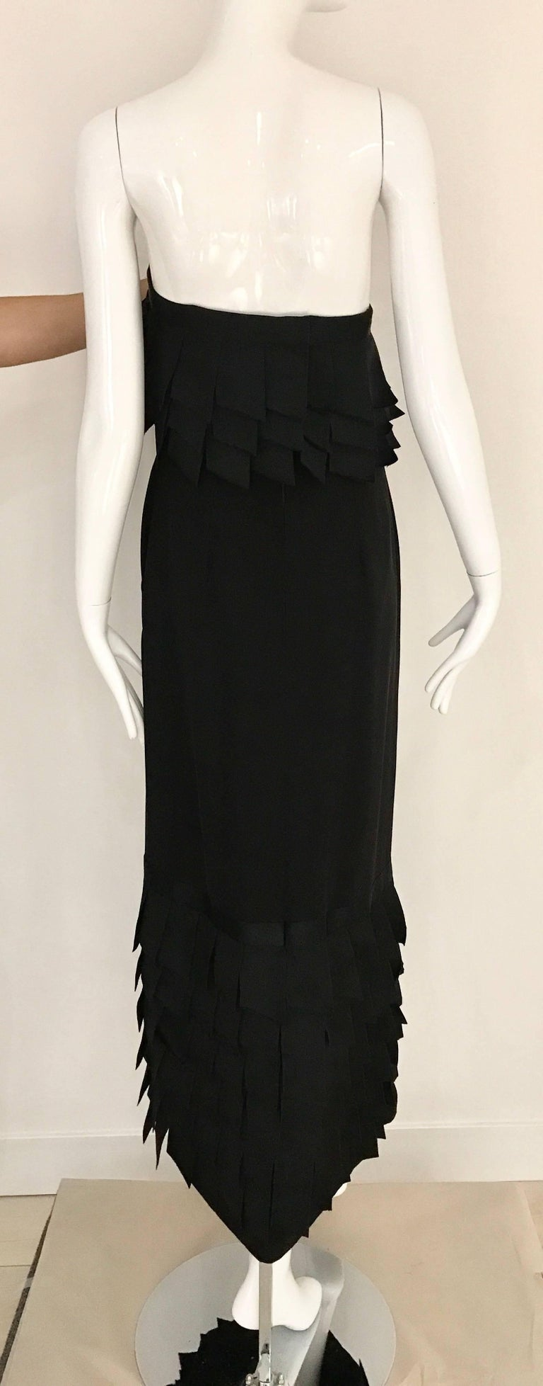 Vintage CHANEL Black Strapless Silk Gown With Cascading Ribbon For Sale 1