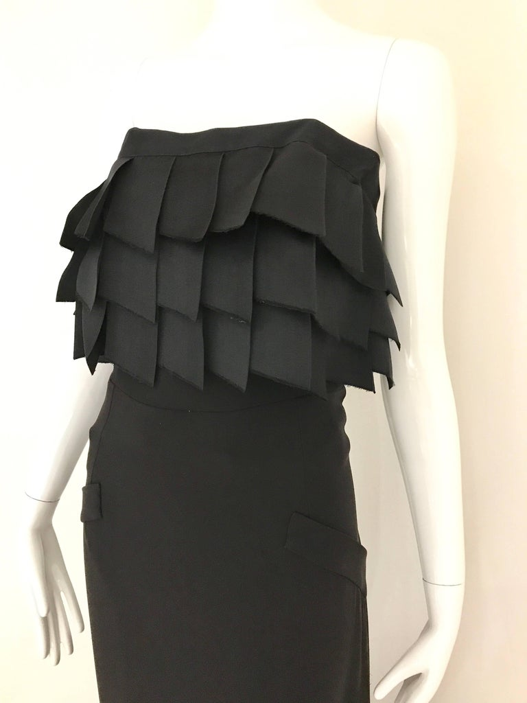 Vintage CHANEL Black Strapless Silk Gown With Cascading Ribbon For Sale 4