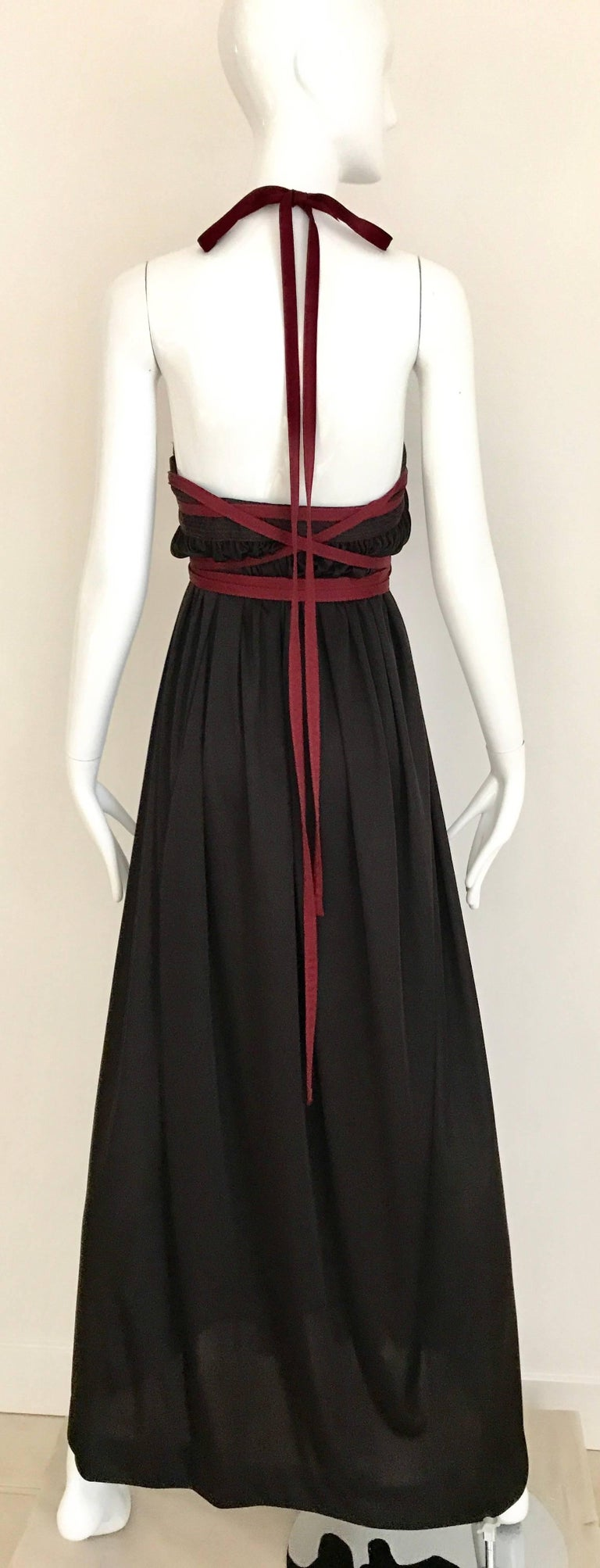 Black 1970s Geoffrey Beene Brown and Red Knit Maxi Dress For Sale