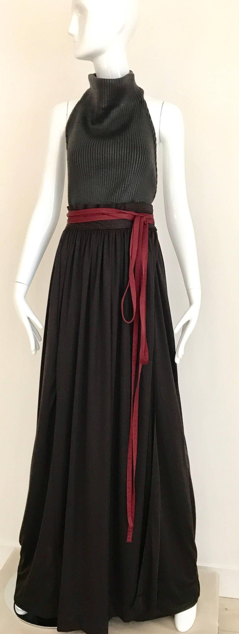 Women's 1970s Geoffrey Beene Brown and Red Knit Maxi Dress For Sale
