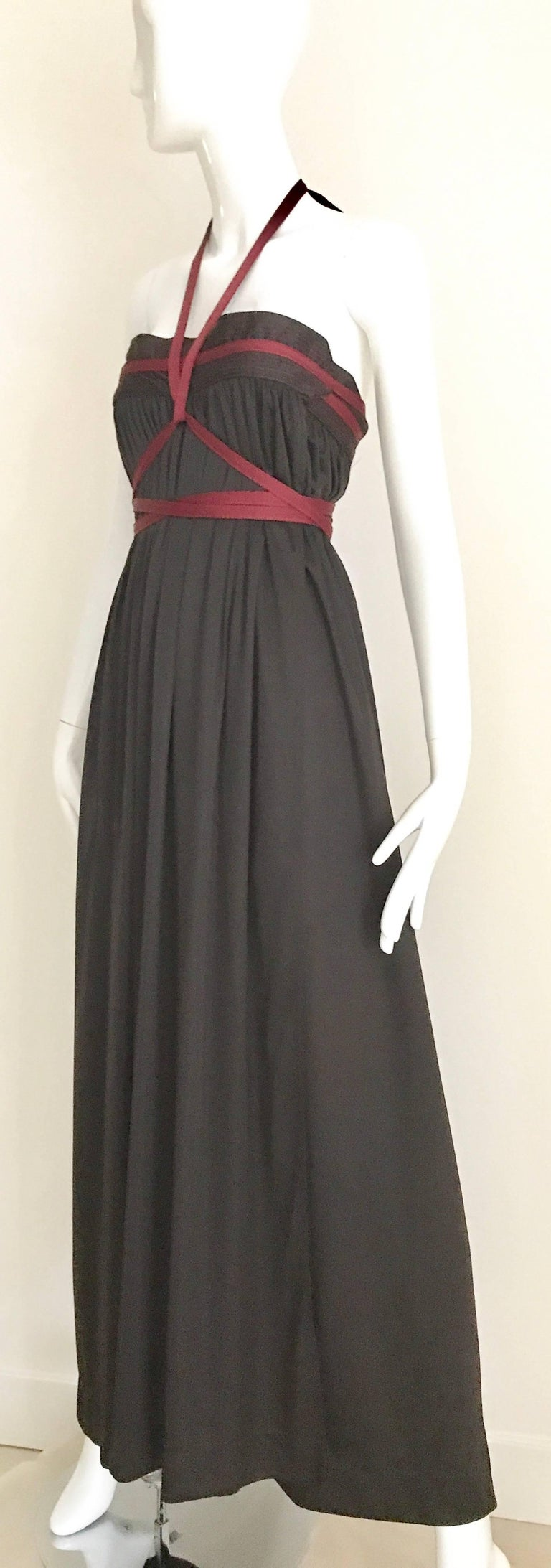 1970s Geoffrey Beene Brown and Red Knit Maxi Dress For Sale 3