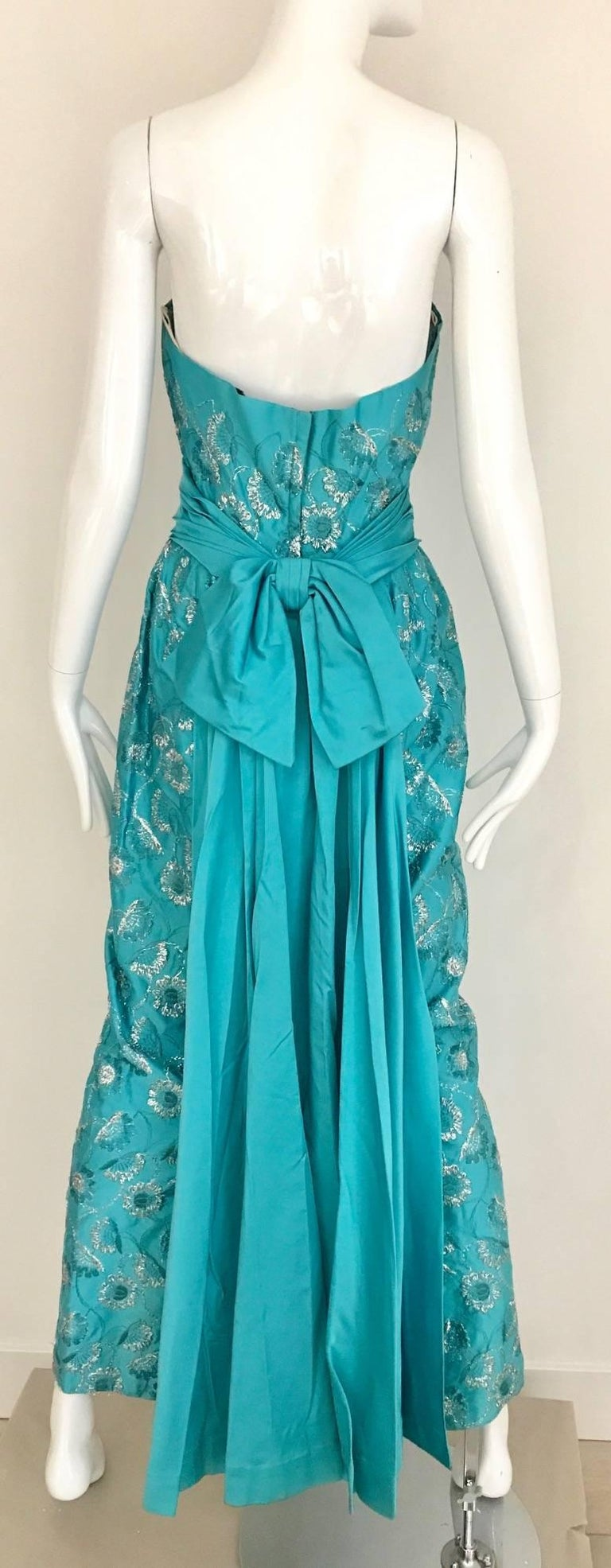 1960s Turquoise And Silver Embroidered Strapless Gown For