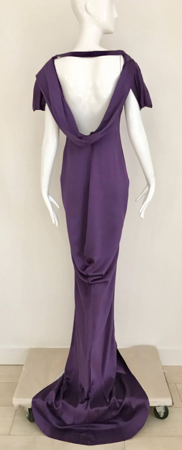 ALEXANDER MCQUEEN Backless Violet Silk Charmeuse Gown  For Sale 3