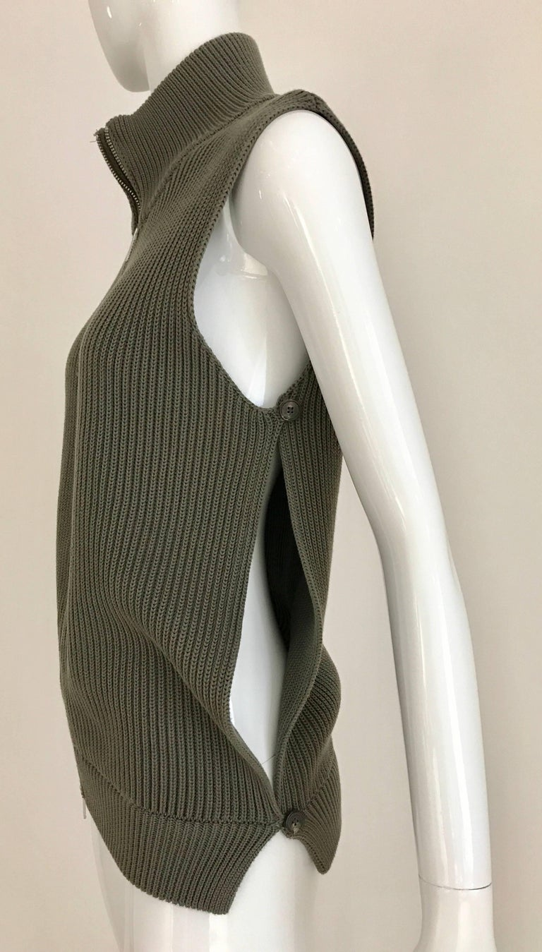 MARGIELA Olive Green Vest Cardigan Knit Top In Excellent Condition For Sale In Beverly Hills, CA