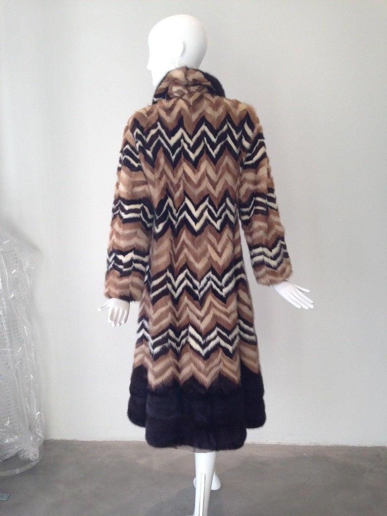 Black Vintage Brown and creme chevron Mink coat, 1970s   For Sale