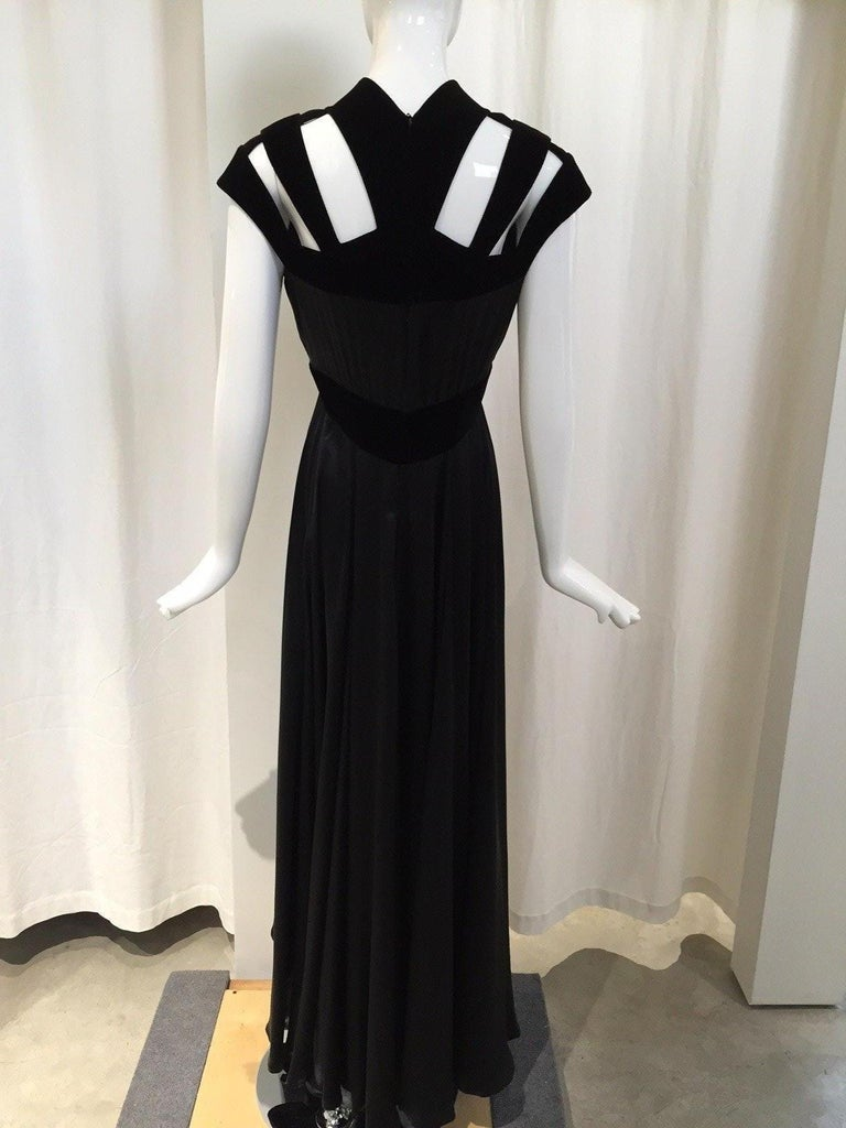 Women's 1990s THIERRY MUGLER Black Silk Gown with Cut Out Shoulder For Sale