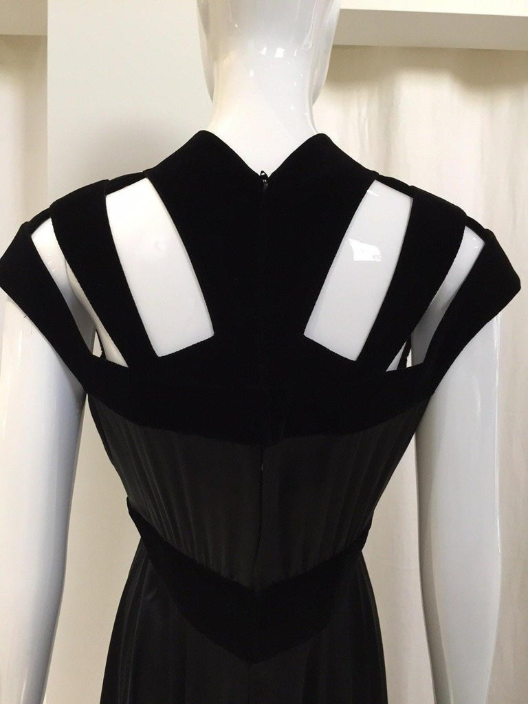 1990s THIERRY MUGLER Black Silk Gown with Cut Out Shoulder For Sale 1