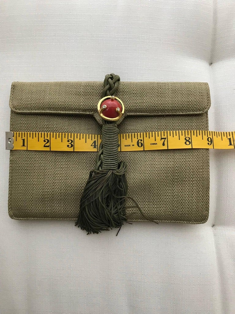Ugo Correani Olive Green Linen Clutch  For Sale 1