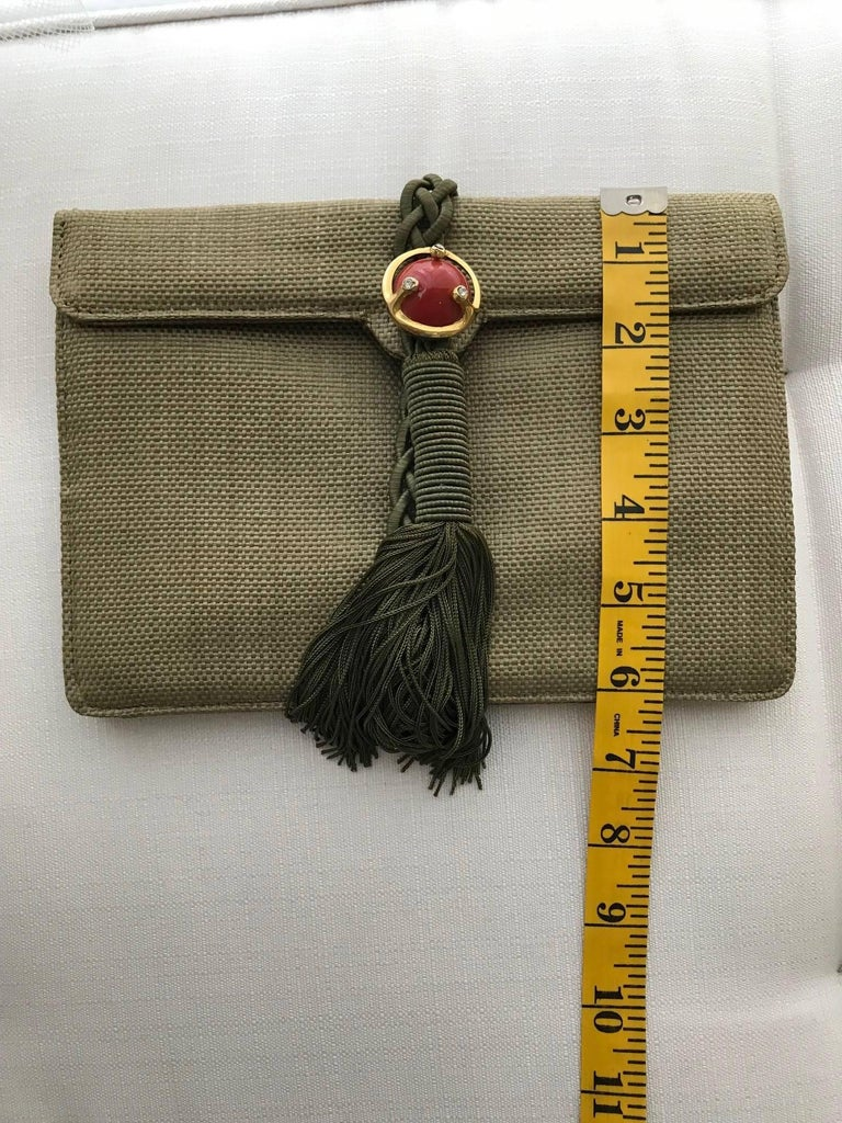 Ugo Correani Olive Green Linen Clutch  For Sale 2