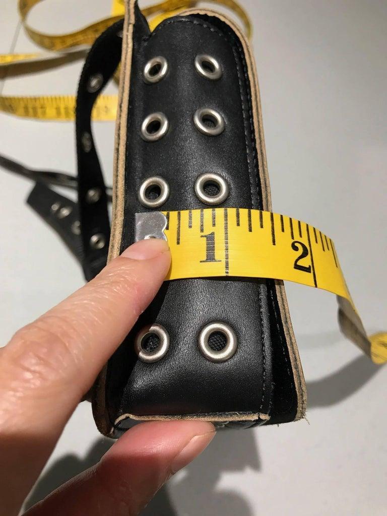 Women's or Men's Comme des garçons Black Leather Grommets Purse For Sale