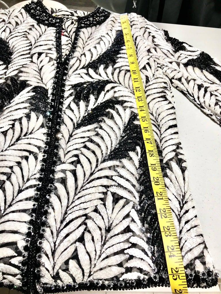 Galanos Black and White Leaf Motif Beaded Jacket, 1980s   For Sale 5