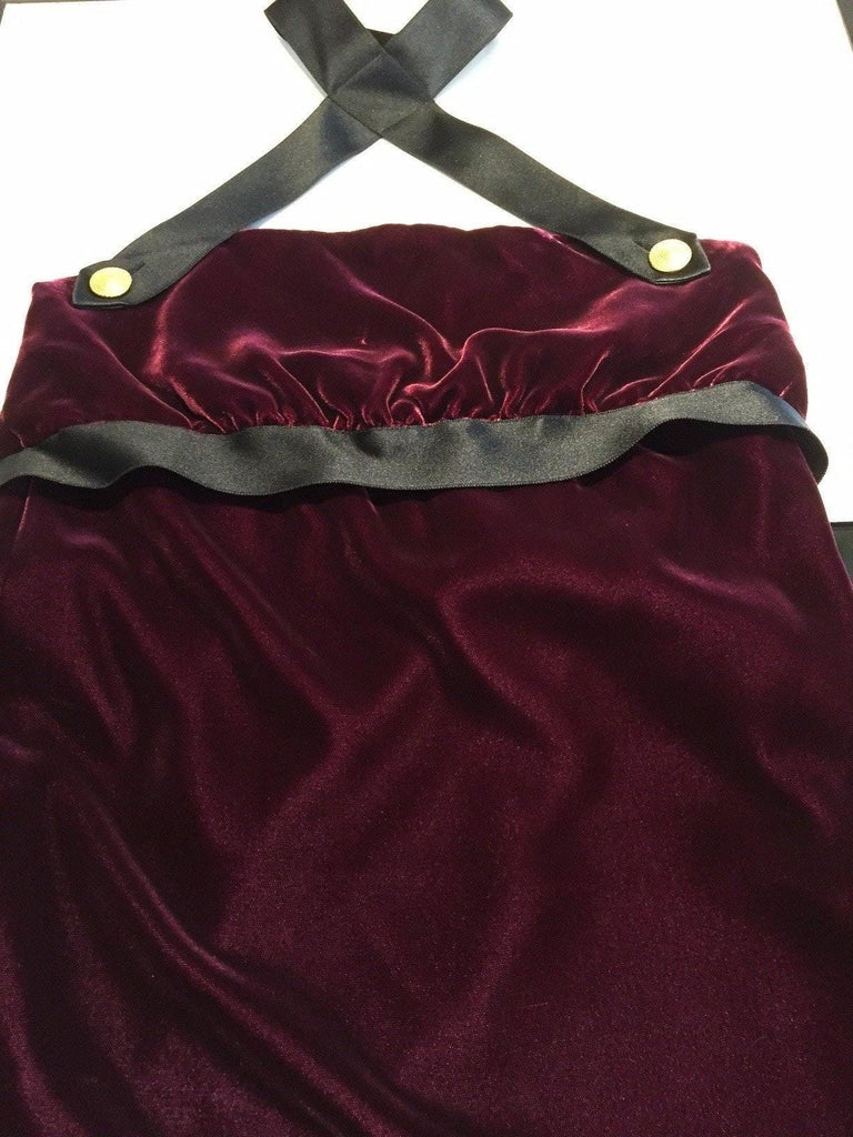 1990s Chanel burgundy velvet halter gown In Excellent Condition For Sale In Beverly Hills, CA
