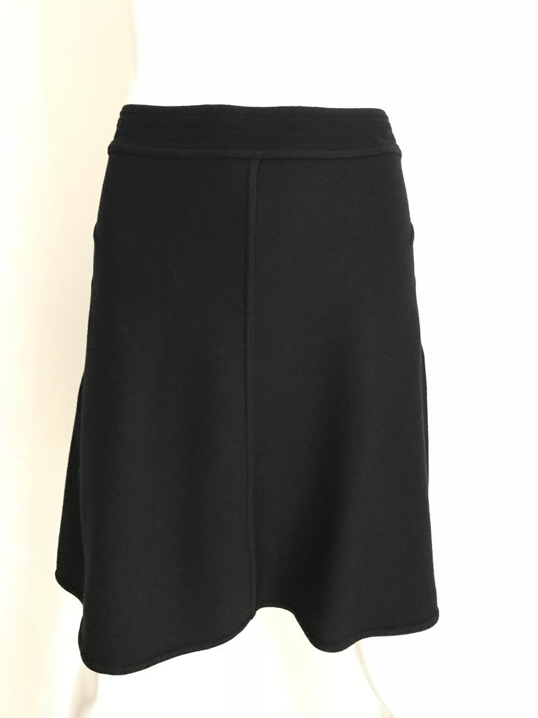 Vintage ALAIA Black Wool Knit Flare Skirt For Sale 2