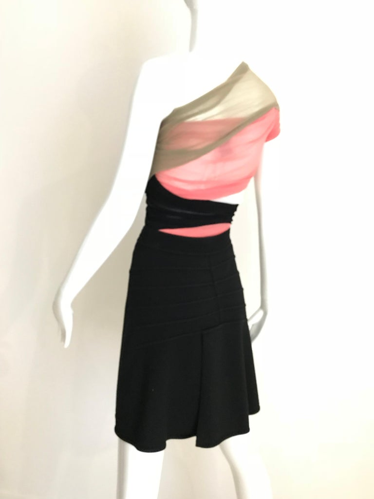 Vintage ALAIA Black Wool Knit Flare Skirt In Excellent Condition For Sale In Beverly Hills, CA