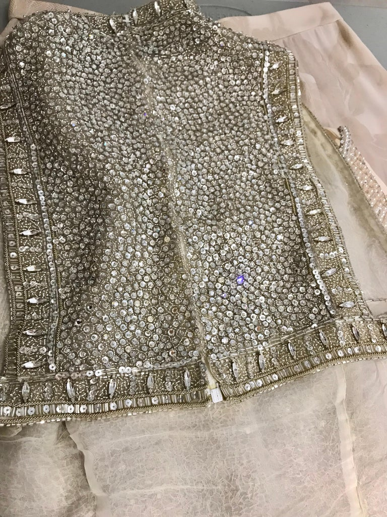Giorgio Armani 3 piece Beaded Top and Pearl Vest with Silk Jacquard Pant, 1990s For Sale 10