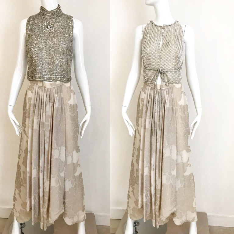 Brown Giorgio Armani 3 piece Beaded Top and Pearl Vest with Silk Jacquard Pant, 1990s For Sale