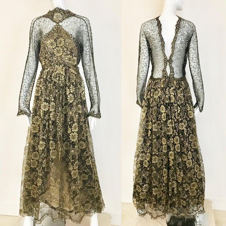 Early 90s Beautiful Geoffrey Beene gold brown long sleeve gown with exposed back. Size: Small Bust: 36 inches can fit 38 inches/ Waist: 26 inches/ Hip: 38 inches/  Dress Length: 61 inches/ Sleeve length: 25 inches