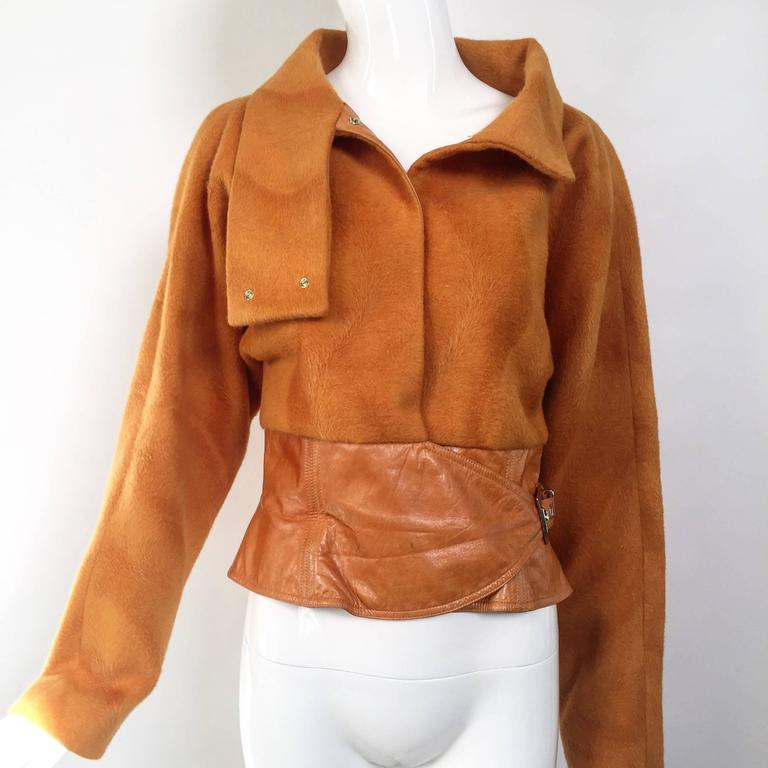 Vintage GIANNI VERSACE Soft Cashmere Wool Orange Jacket 2