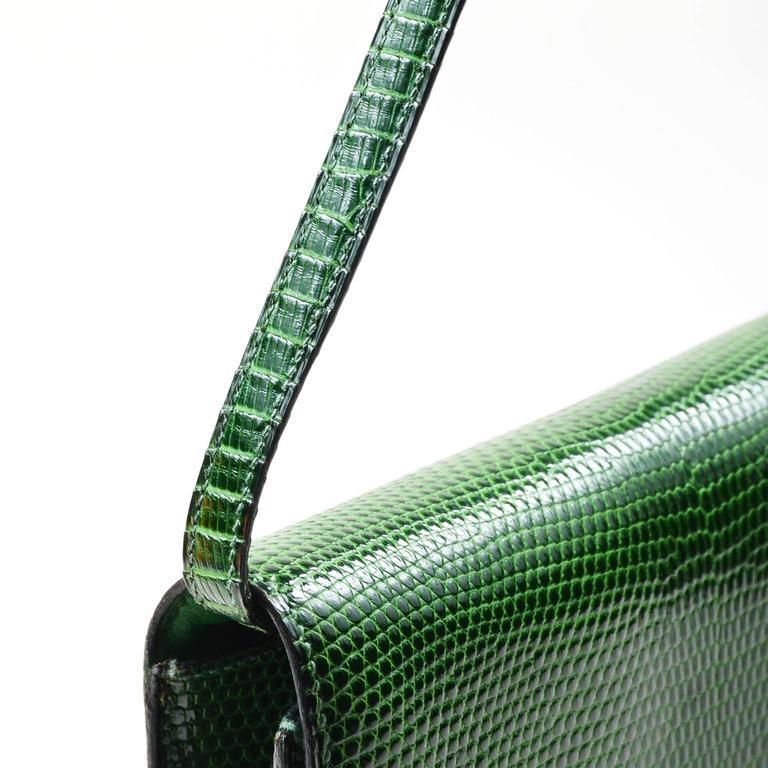 Vintage Rare Hermes Green Lizard Leather Marigny Envelope Clutch Shoulder Bag 3
