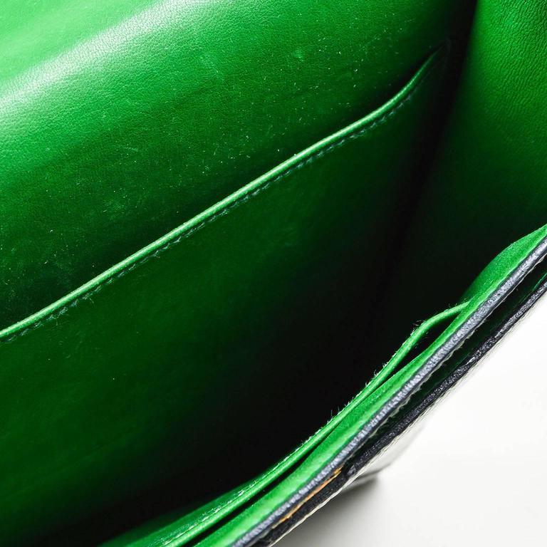 Vintage Rare Hermes Green Lizard Leather Marigny Envelope Clutch Shoulder Bag 8