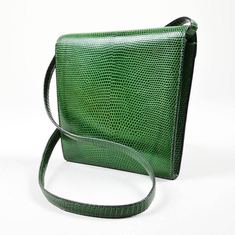Vintage Rare Hermes Green Lizard Leather Marigny Envelope Clutch Shoulder Bag 2