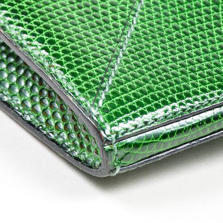 Vintage Rare Hermes Green Lizard Leather Marigny Envelope Clutch Shoulder Bag 7
