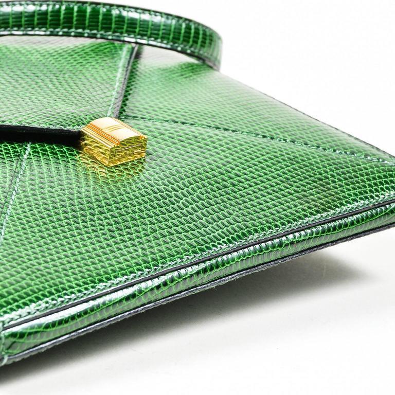 Vintage Rare Hermes Green Lizard Leather Marigny Envelope Clutch Shoulder Bag 6