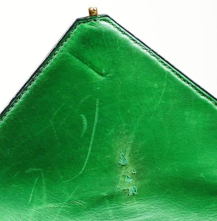 Vintage Rare Hermes Green Lizard Leather Marigny Envelope Clutch Shoulder Bag 9