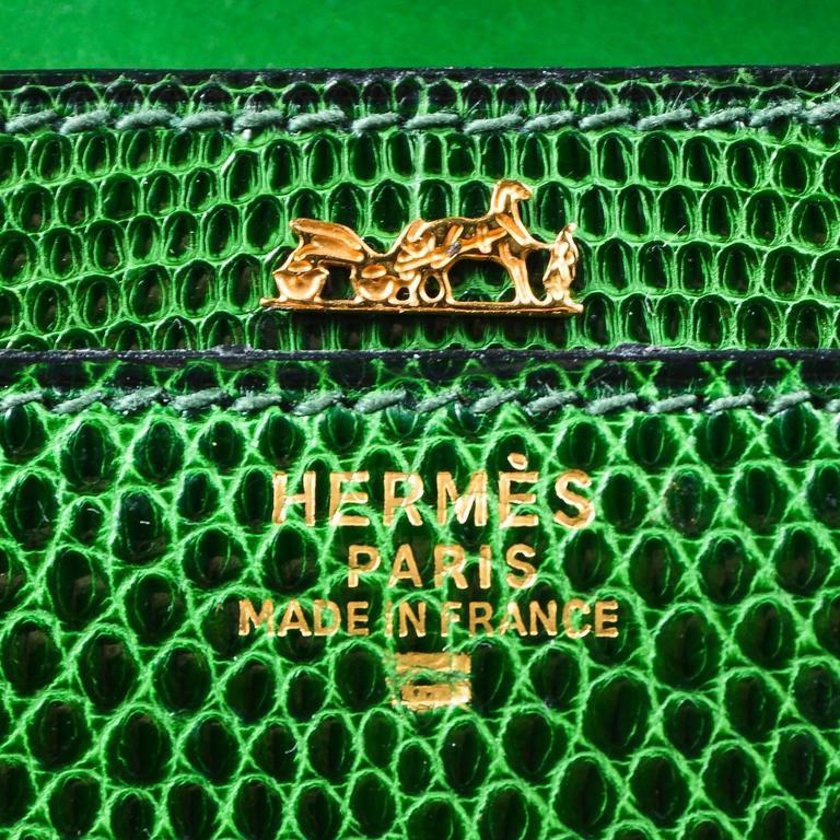 Vintage Rare Hermes Green Lizard Leather Marigny Envelope Clutch Shoulder Bag 4