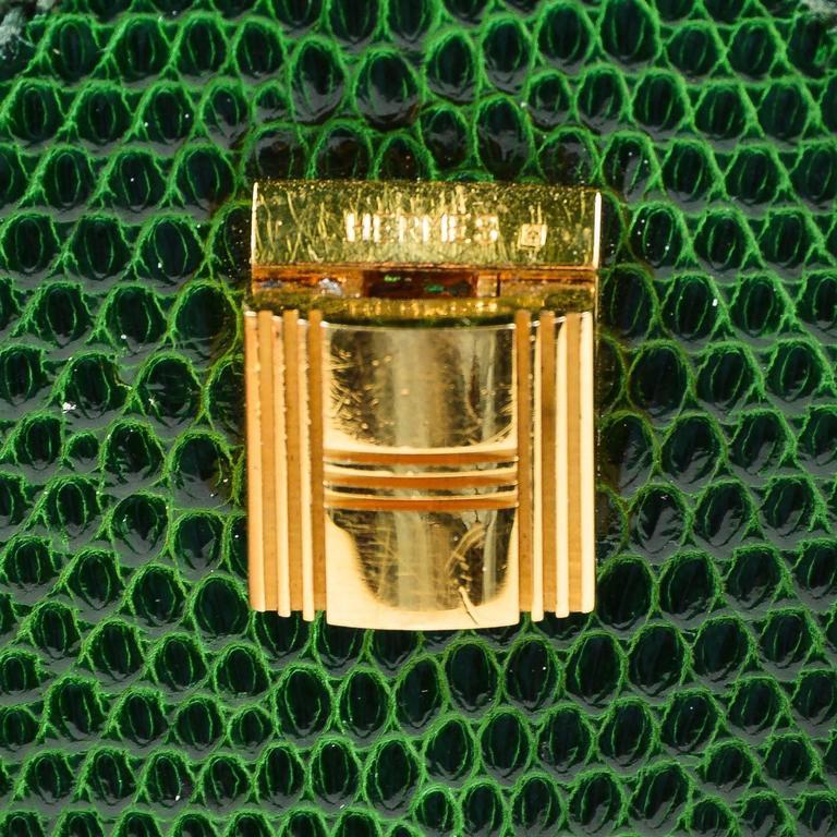 Vintage Rare Hermes Green Lizard Leather Marigny Envelope Clutch Shoulder Bag 5