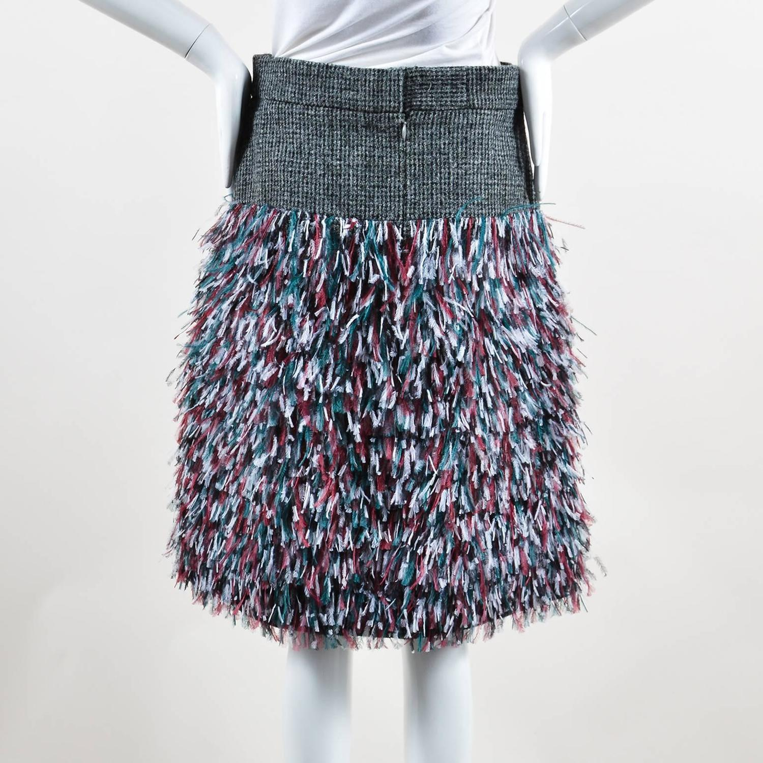 chanel nwt gray tweed multicolor wool ostrich feathers