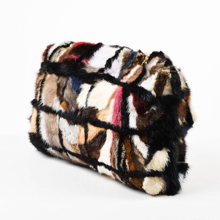 Chanel Multicolor Patchwork Mink Fur Flap Chain Strap Shoulder Bag  2