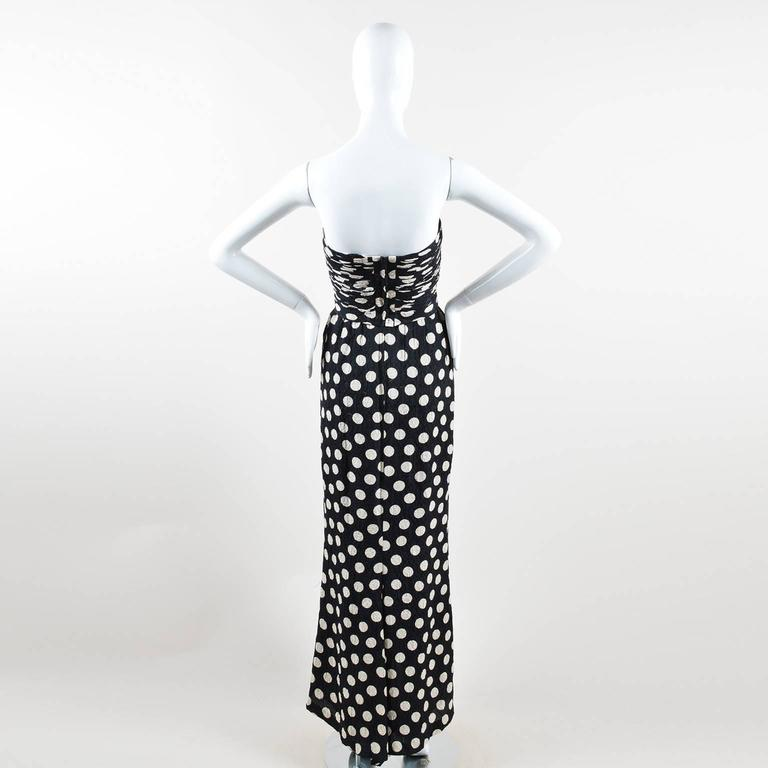 Vintage Chanel Black Cream Polka Dot Ruched Hammered Silk Strapless Gown SZ 36 3