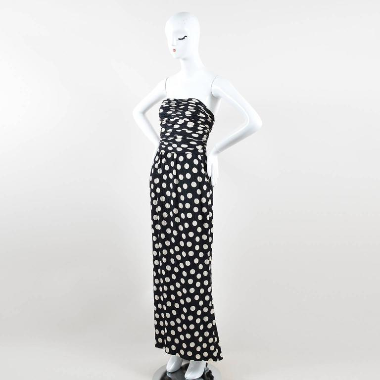 Vintage Chanel Black Cream Polka Dot Ruched Hammered Silk Strapless Gown SZ 36 2