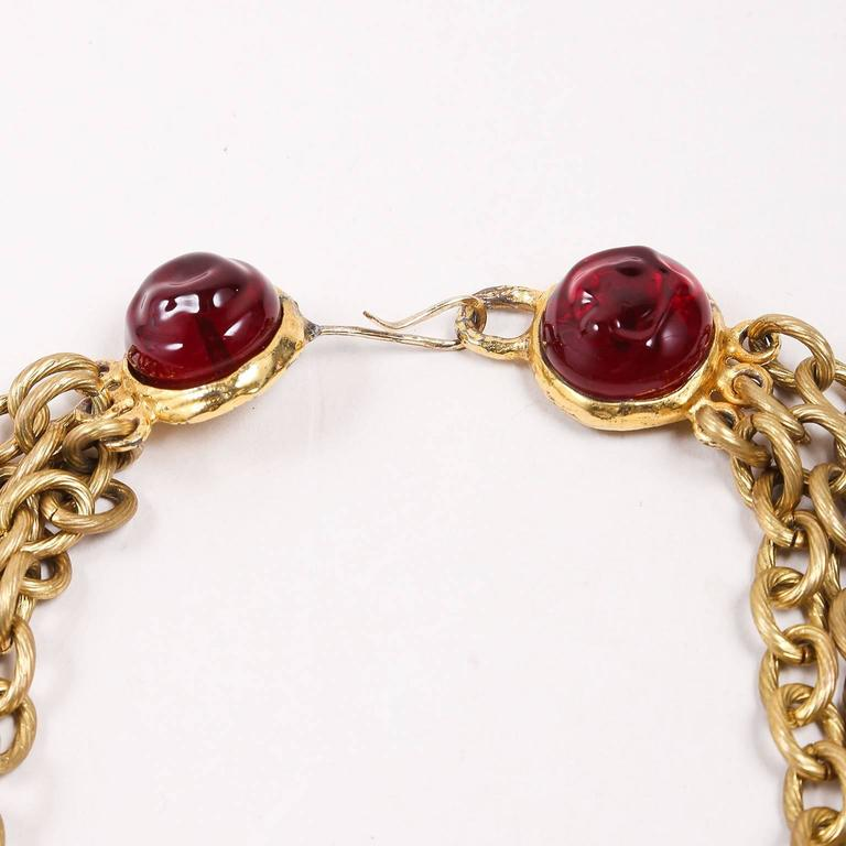 Chanel Gold Tone Red Multi Strand Chain Stone Embellished Flower Necklac 4