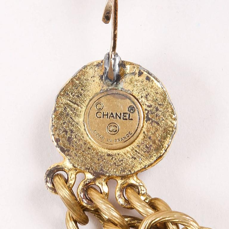 Chanel Gold Tone Red Multi Strand Chain Stone Embellished Flower Necklac 5