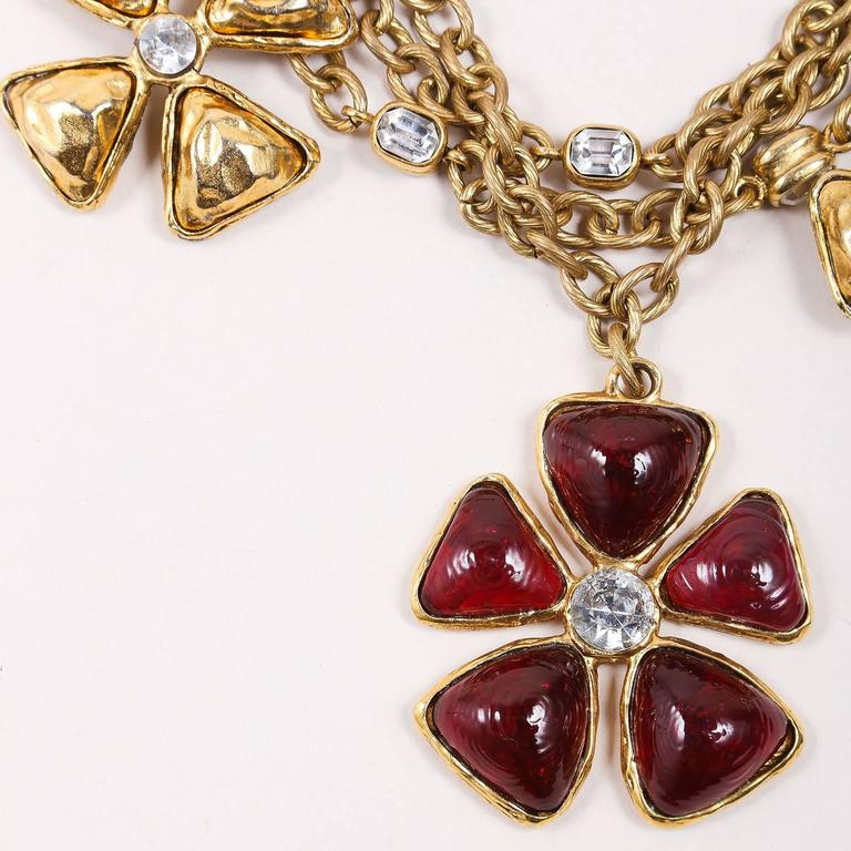 Chanel Gold Tone Red Multi Strand Chain Stone Embellished Flower Necklac 2