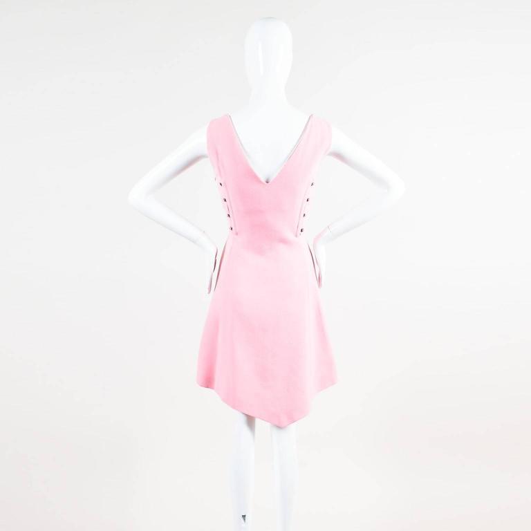 Vintage Gianni Versace Light Pink Crepe Knit Studded Sleeveless A Line Dress 3