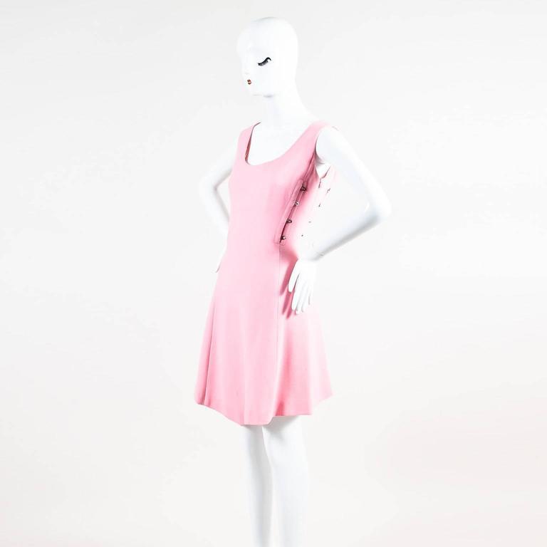 Vintage Gianni Versace Light Pink Crepe Knit Studded Sleeveless A Line Dress 2