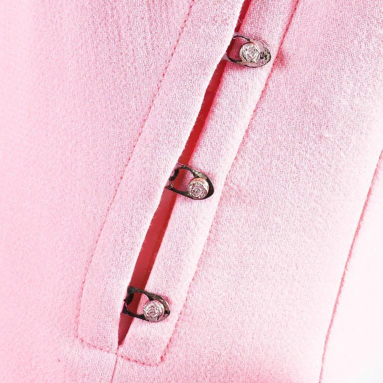 Vintage Gianni Versace Light Pink Crepe Knit Studded Sleeveless A Line Dress 5