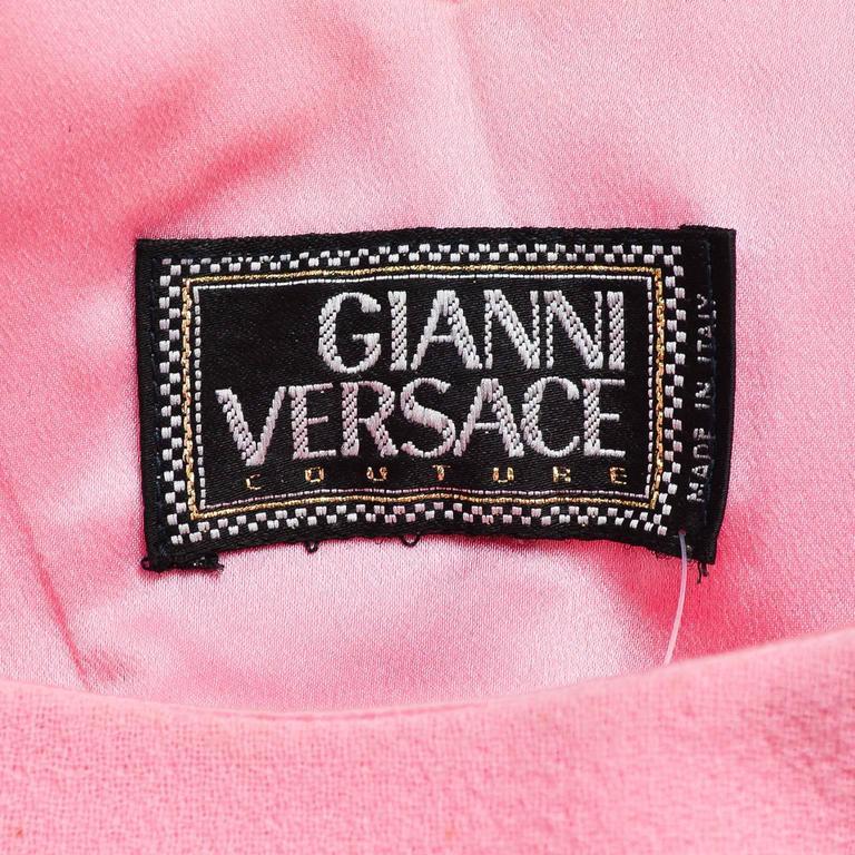 Vintage Gianni Versace Light Pink Crepe Knit Studded Sleeveless A Line Dress 4