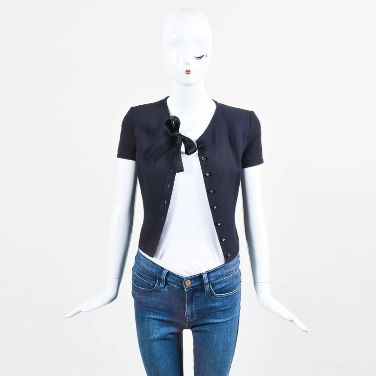 """Vintage Chanel Spring 1995 Navy Cap Sleeve Woven Crepe """"CC"""" Buttoned Bow Tie Top 2"""
